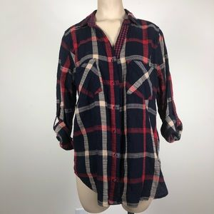 Skies are Blue Flannel Button Down Red Blue